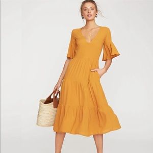 Faithfull The Brand Melia Yellow Midi Dress